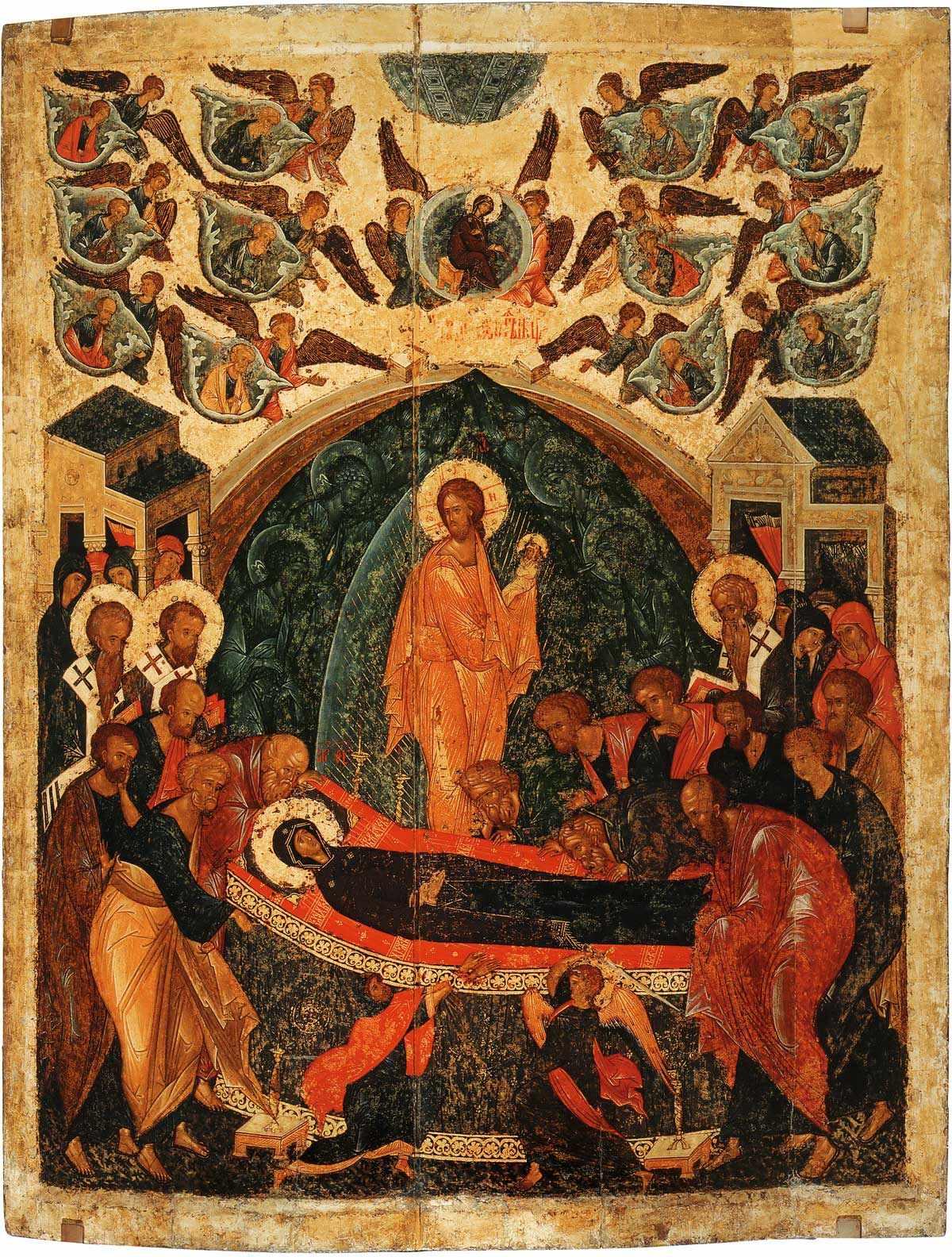 Adormirea Maicii Domnului, prăznuită la 15 august c.b. Vezi în josul icoanei pe evreul ce a vrut să întineze mormîntul Maicii Domnului, dar a fost pedepsit de Sf. Arh. Mihail. Vezi linkul evenimentului